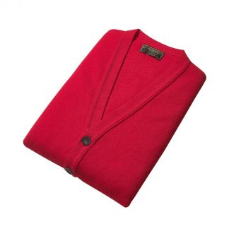 Cordings Red Lambswool Knitted Waistcoat Different Angle 1