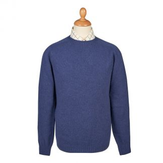 Cordings Denim Blue  Wool Cashmere 2 ply Crew Neck Main Image