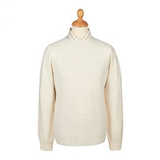 Cordings Cream Wool Cashmere 2 ply Crew Neck Main Image