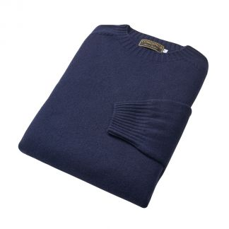 Cordings Navy Wool Cashmere 2 ply Crew Neck Different Angle 1