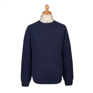 Cordings Navy Wool Cashmere 2 ply Crew Neck Main Image