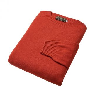 Cordings Rust Wool Cashmere 2 ply Crew Neck Different Angle 1