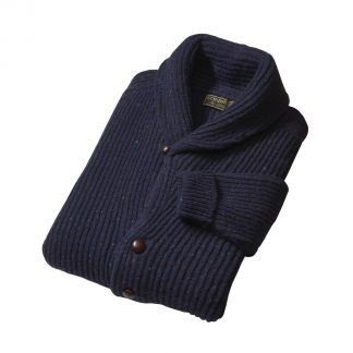 Cordings Navy Donegal Shawl Collar Cardigan Different Angle 1