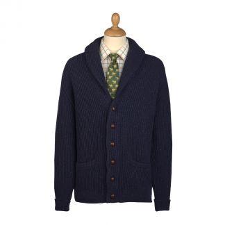 Cordings Navy Donegal Shawl Collar Cardigan Main Image