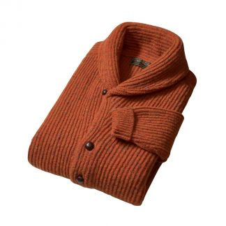 Cordings Orange Donegal Shawl Collar Cardigan Different Angle 1