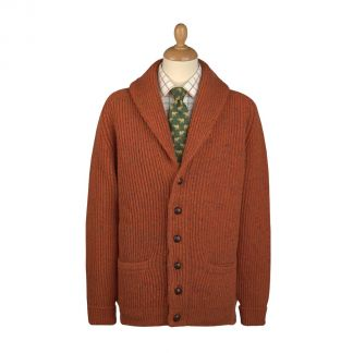 Cordings Orange Donegal Shawl Collar Cardigan Main Image