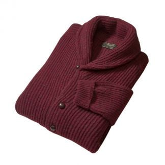 Cordings Burgundy Donegal Shawl Collar Cardigan Different Angle 1