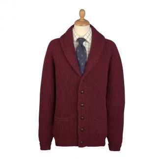 Cordings Burgundy Donegal Shawl Collar Cardigan Main Image