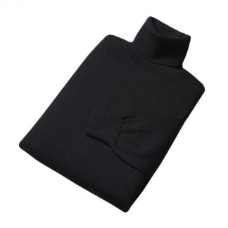 Cordings Black Extrafine Merino Roll Neck Jumper Different Angle 1