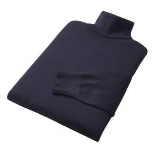 Cordings Navy Extrafine Merino Roll Neck Jumper Different Angle 1