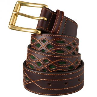 Cordings Green Suede and Leather Picado Belt  Main Image
