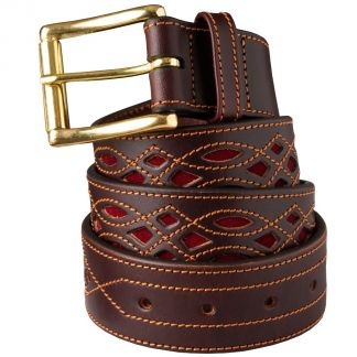 Cordings Wine Suede and Leather Picado Belt  Main Image
