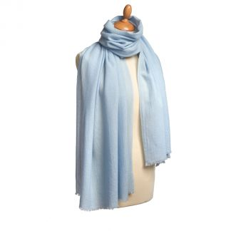 Cordings Powder Blue Nepalese Cashmere Shawl Different Angle 1