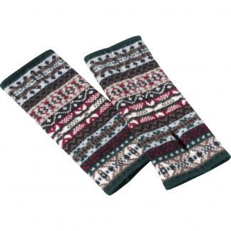 Cordings Tartan Green Lambswool Fairisle Wristwarmers Main Image