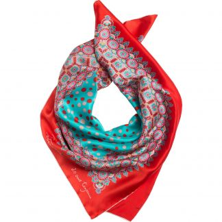 Cordings Red Roulette Silk Square Scarf Main Image