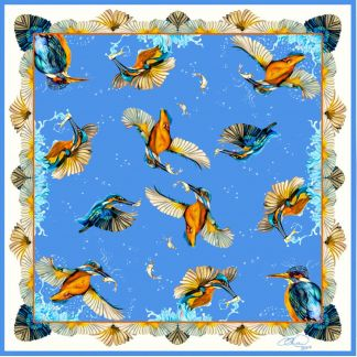 Cordings Blue Kingfisher Pure Silk Square Scarf Different Angle 1