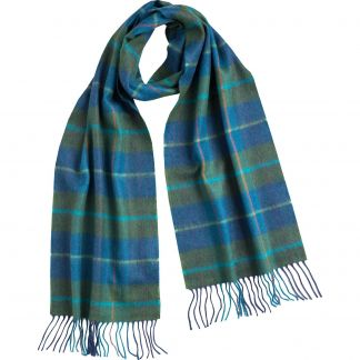 Cordings Green and Blue Check Merino Scarf Main Image