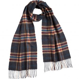 Cordings Grey and Blue Check Merino Scarf Main Image