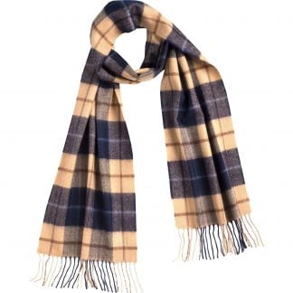 Cordings Navy and Tan Check Merino Scarf Different Angle 1