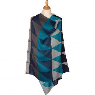 Cordings Navy Diamond Wool and Silk Jacquard Scarf Main Image