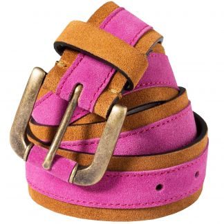 Cordings Pink Leather Suede Contrast Belt Main Image