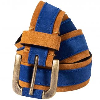 Cordings Navy Leather Suede Contrast Belt Different Angle 1
