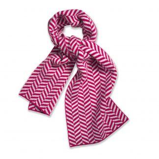Cordings Pink Lambswool Chevron Scarf Main Image
