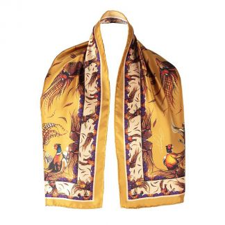Cordings George & Friends Narrow Gold Silk Scarf Main Image