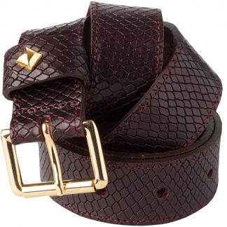 Cordings Wine Snakeskin Print Stud Belt Different Angle 1