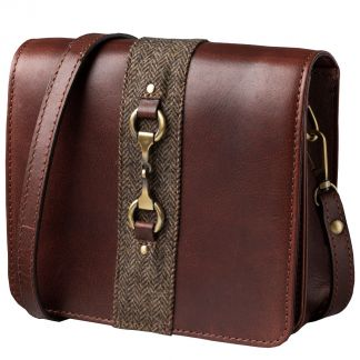 Cordings Chocolate Leather and Tweed Shoulder Bag Main Image