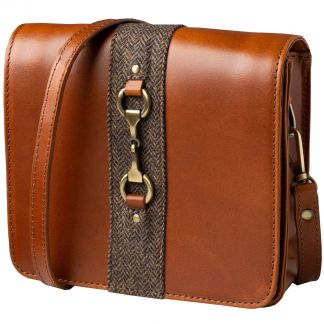Cordings Tan Leather and Tweed Shoulder Bag Main Image