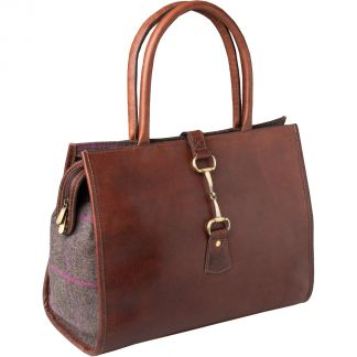 Cordings Chocolate Large Leather and Tweed Trim Bag Main Image