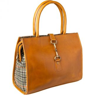 Cordings Tan Large Leather and Tweed Trim Bag Main Image