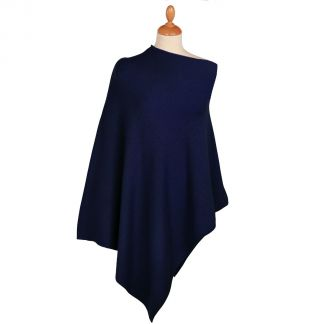 Cordings Navy Nepalese Cashmere Poncho Main Image