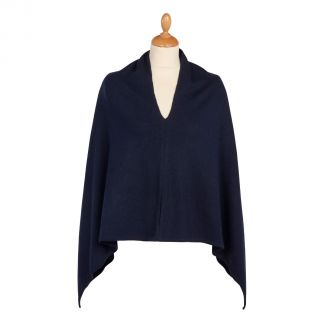 Cordings Navy Nepalese Cashmere Poncho Different Angle 1