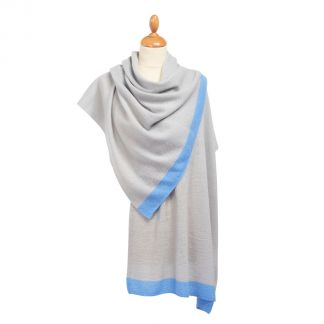 Cordings Blue Tipped Nepalese Cashmere Scarf Different Angle 1