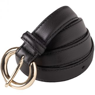 Cordings Black Thin Leather Gold Buckle Belt Main Image