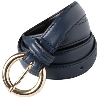 Cordings Navy Thin Leather Gold Buckle Belt Main Image