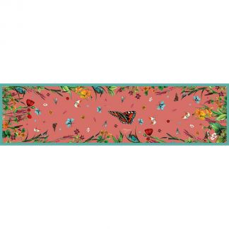 Cordings Pastures New Narrow Coral Silk Scarf Different Angle 1