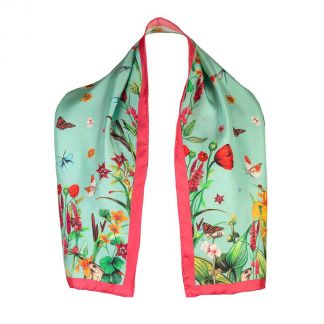 Cordings Pastures New Narrow Mint Silk Scarf Main Image