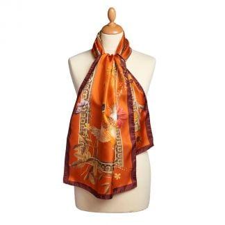 Cordings Rust Silk Pheasant Scarf Main Image