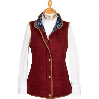 Cordings Wine Quilted Classic Gilet Main Image