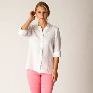 Cordings White Nehru Linen Shirt Main Image