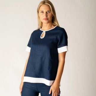 Cordings Navy and White Contrast Keyhole Linen Top Different Angle 1