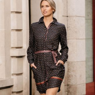 Cordings Pink and Navy Printed Dress Different Angle 1