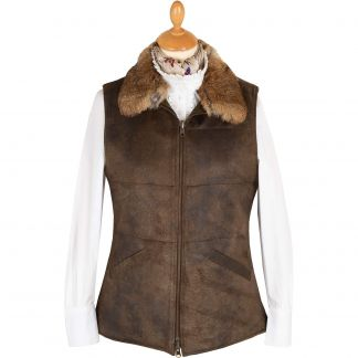 Cordings Olive T. Ba Reversible Gilet with Fur Collar Different Angle 1