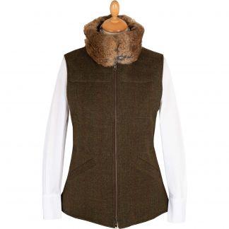 Cordings Olive T. Ba Reversible Gilet with Fur Collar Main Image