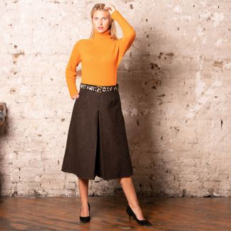 Cordings Brown St James Tweed Culottes Different Angle 1