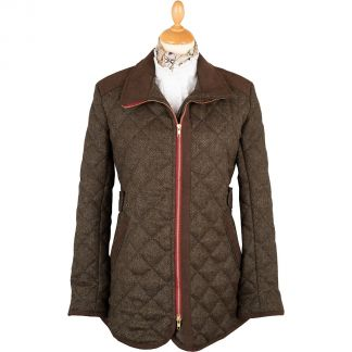 Cordings Herringbone Quilted Tweed Fieldcoat Main Image