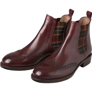 Cordings Bordeaux Chelsea Boot with Check Gusset Main Image
